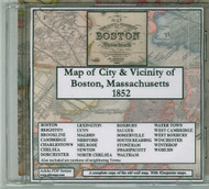Map of the City and Vicinity of Boston, Massachusetts, 1852, CDROM Old Map