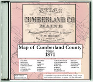 Atlas of Cumberland County, Maine, 1871, CDROM Old Map