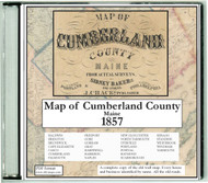 Map of Cumberland County, Maine, 1857, CDROM Old Map