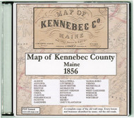 Map of Kennebec County, 1856, Maine, CDROM Old Map