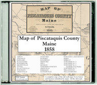 Map of Piscataquis County, Maine, 1858, CDROM Old Map