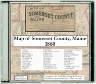 Map of Somerset County, Maine, 1860 CDROM Old Map