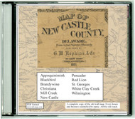 Map of New Castle County, Delaware, 1881, CDROM Old Map