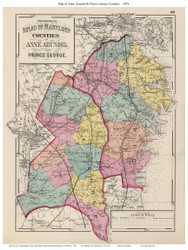 Anne Arundel & Prince George Counties, Maryland 1873 - Old County Map Reprint - 1873 State Atlas