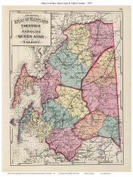 Caroline, Queen Anne, & Talbot Counties, Maryland 1873 - Old County Map Reprint - 1873 State Atlas