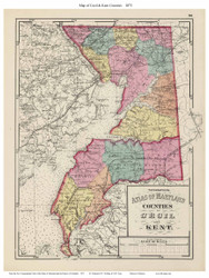 Cecil & Kent Counties, Maryland 1873 - Old County Map Reprint - 1873 State Atlas