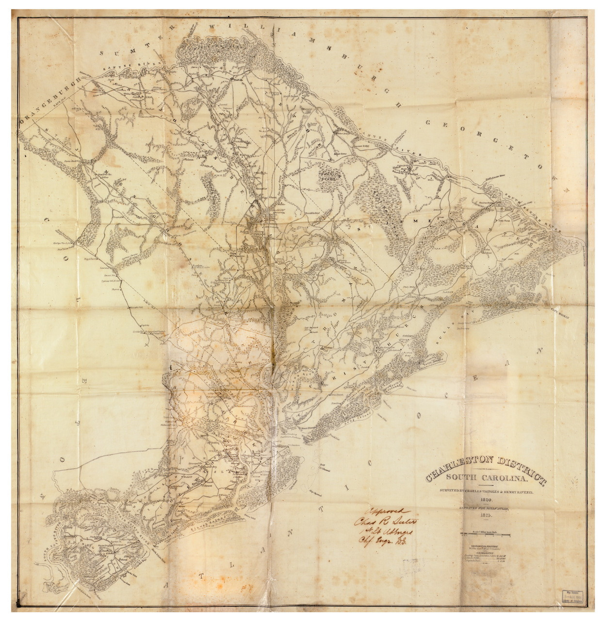 Charleston District, 1825 South Carolina - Old Map Reprint - Mills on