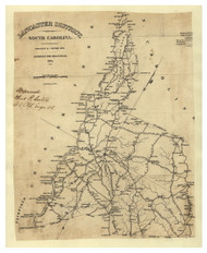 Lancaster District, 1825 South Carolina - Old Map Reprint - Mills Atlas LC