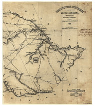 Lexington District, 1825 South Carolina - Old Map Reprint - Mills Atlas LC