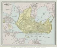 Portland 1889 Cram - Old Map Reprint - Maine Cities Other