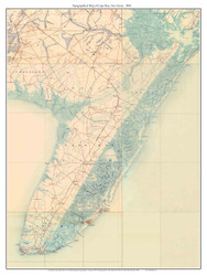 Cape Map 1888 - Custom USGS Old Topo Map - New Jersey
