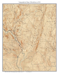 Brookline 1933 - Custom USGS Old Topo Map - Vermont