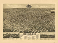 Lincoln, Nebraska 1889 Bird's Eye View
