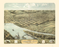 Nebraska City, Nebraska 1868 Bird's Eye View