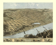 Omaha, Nebraska 1868 Bird's Eye View