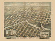 Sioux Falls, South Dakota 1881 Bird's Eye View