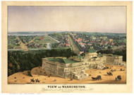 Washington DC 1852 Bird's Eye View - Old Map Reprint