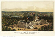 Washington DC 1856 Bird's Eye View - Old Map Reprint