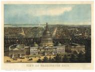 Washington DC 1871 Bird's Eye View - Old Map Reprint