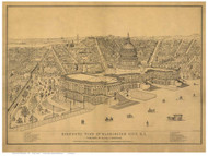 Washington DC 1872 Bird's Eye View - Old Map Reprint