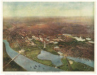 Washington DC 1916 Bird's Eye View - Old Map Reprint