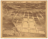 Brookland - Washington DC 1895 Bird's Eye View - Old Map Reprint