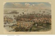 Boston, Massachusetts 1866 German Text - Bird's Eye View - Old Map Reprint - Author Unknown