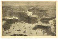 Boston, Massachusetts ca 1870 - Bird's Eye View - Old Map Reprint - Sulman