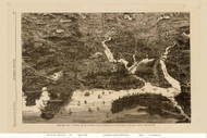 Boston, Massachusetts 1872 - Bird's Eye View - Old Map Reprint - Harper's Weekly