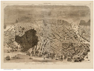 Boston, Massachusetts, Showing the Area Burned in the Great Fire - 1872 Copy 2 - Bird's Eye View - Old Map Reprint - Harper's Weekly