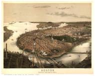 Boston, Massachusetts 1877 - Bird's Eye View - Old Map Reprint - Bachman