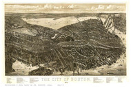 Boston, Massachusetts 1879 - Bird's Eye View - Old Map Reprint - Bailey