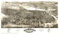 Boston, Massachusetts 1880 - Bird's Eye View - Old Map Reprint - Rowley
