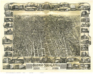 Boston, Massachusetts 1888 - Bird's Eye View - Old Map Reprint - Bailey