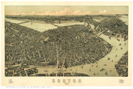Boston, Massachusetts 1899 - Bird's Eye View - Old Map Reprint - Downs