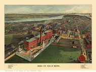 Boston, Massachusetts 1902 - Bird's Eye View - Old Map Reprint - Walker