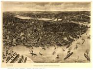 Boston, Massachusetts 1905 - Bird's Eye View - Old Map Reprint - Poole
