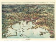 Boston, Massachusetts 1905 - Bird's Eye View - Old Map Reprint - Walker