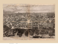 Boston, Massachusetts after the Great Fire - 1872 Copy 1 - Bird's Eye View - Old Map Reprint - Harper's Weekly