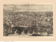 Boston, Massachusetts after the Great Fire - 1872 Copy 2 - Bird's Eye View - Old Map Reprint - Harper's Weekly