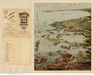 Boston Harbor, Massachusetts 1901 BPL - Bird's Eye View - Old Map Reprint - Murphy