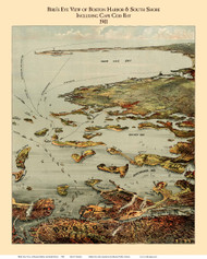 Boston Harbor, Massachusetts 1901 - Bird's Eye View - Old Map Reprint - Murphy