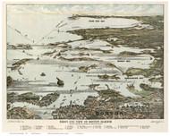 Boston Harbor, Massachusetts 1920 - Bird's Eye View - Old Map Reprint - Federal Engraving Co.
