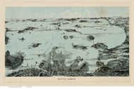 Boston Harbor, Massachusetts ca 1923 - Bird's Eye View - Old Map Reprint - Walker