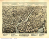 Pawtucket and Central Falls, Rhode Island 1877 Bird's Eye View