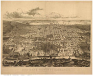 Philadelphia, Pennsylvania 1857 Bird's Eye View - Old Map Reprint - Bachman