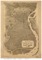 Philadelphia, Pennsylvania 1870 Bird's Eye View - Old Map Reprint - Reading Railroad