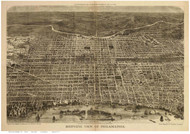Philadelphia, Pennsylvania 1872 Bird's Eye View - Old Map Reprint - Davis