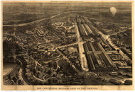 Philadelphia, Pennsylvania 1876 Bird's Eye View - Old Map Reprint - Centennial Balloon View