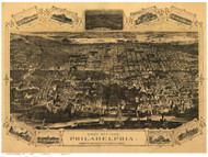 Philadelphia, Pennsylvania 1876 Bird's Eye View - Old Map Reprint - Hunt